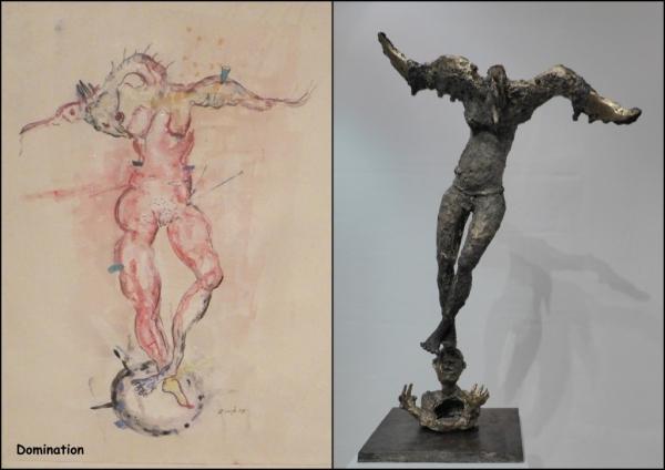 Domination. Zinkpè dessine, peint puis sculpte.