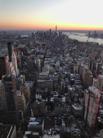 Manhattan au coucher du soleil depuis l'Empire State Building
