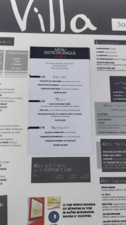 Vend du rêve avec menu à 10€ (du lundi au vendredi hors jours fériés), Maître restaurateur; Hors même les jours non fériés sont fériés... (pour le restaurant La villa!) donc pas de Menu Bistrononique à 10€ et très mal aimable en sus de cela! Passez votre chemin !