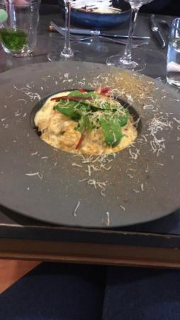 Entrée un risotto juste excellent au fruit de mer