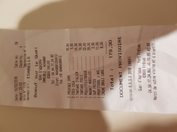 Premiere et derniere fois ! 4€ pour un supplement frites et 40€ pour 2 pichets de 50 cl sachant que la bouteille la plus basse est a 18€. Serveuse agreable et directeur hautain et desagreable. Apres une note salee meme pas un cafe ou un digestif offert. Nous sommes decus, restaurant a eviter. Nous ne sommes pas des touristes.