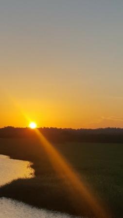Coucher du soleil sur le marais de Kaw