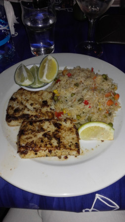 Calamar grillé et son riz