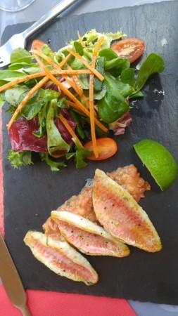 Entrée : Filets de rouget citron vert.