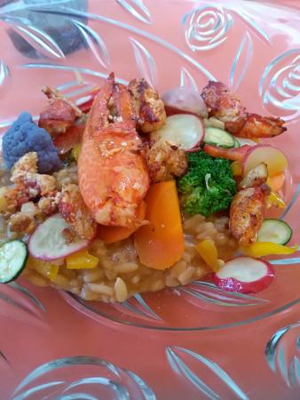 un des plats colorés risotto gambas