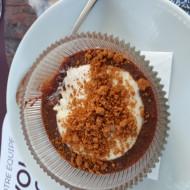 Le dessert à base de nutella et crème mascarpone, sur écrasé de spéculoos : une