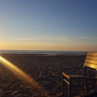 Coucher de soleil sur la plage du Touquet.
