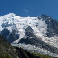 une des voies d'accès au Mont Blanc par le glacier et le refuge du Goûter