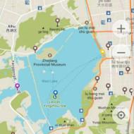 Le point jaune indique le pavillon et le point bleu, l'île avec le symbole du billet de 1¥