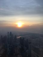 Vue depuis la tour au coucher du soleil