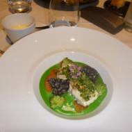 le Merlu de ligne poêlé, mousseline de brocolis à la noisette, orange sanguine,sauce maltaise