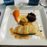 lieu jaune ... un délice avec son riz noir et sa petite purée de carottes !